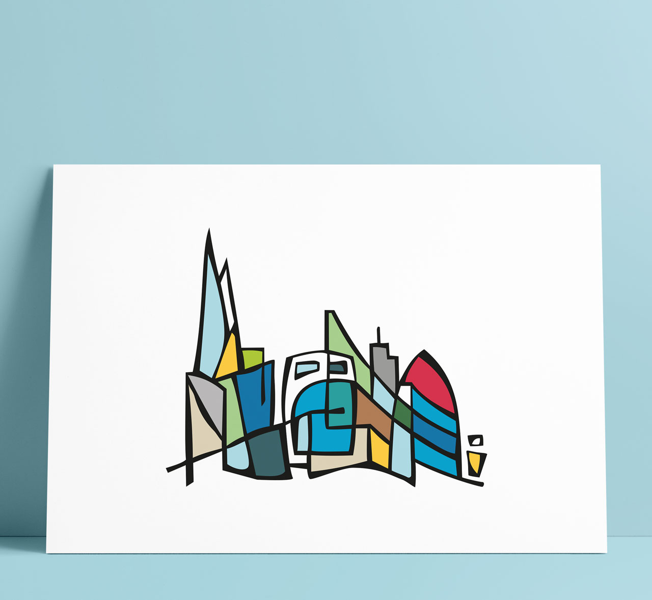 London Skyline Illustration Art Wall Decoration