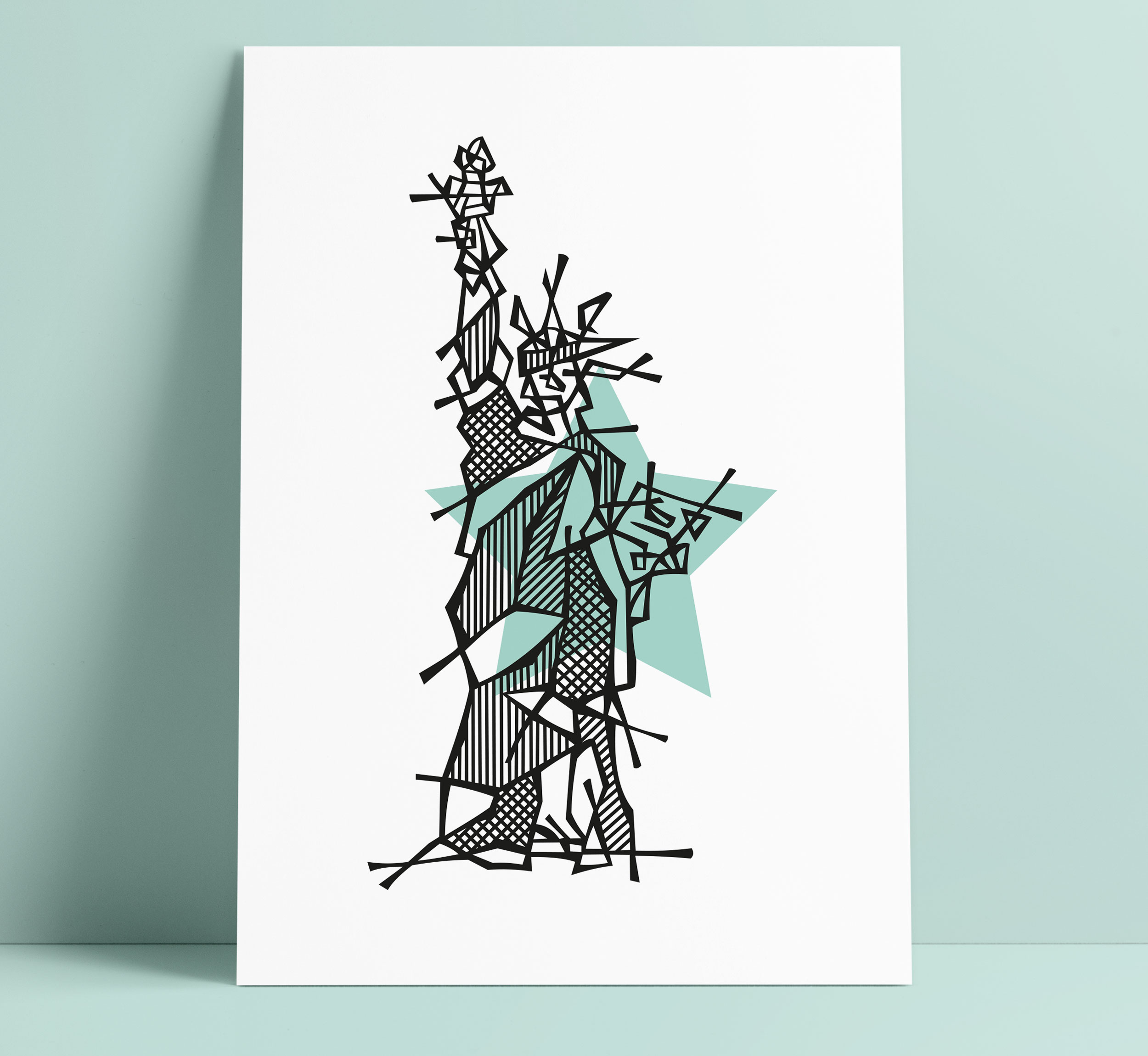 New York Statue of Liberty Illustration Art Wall Decoration