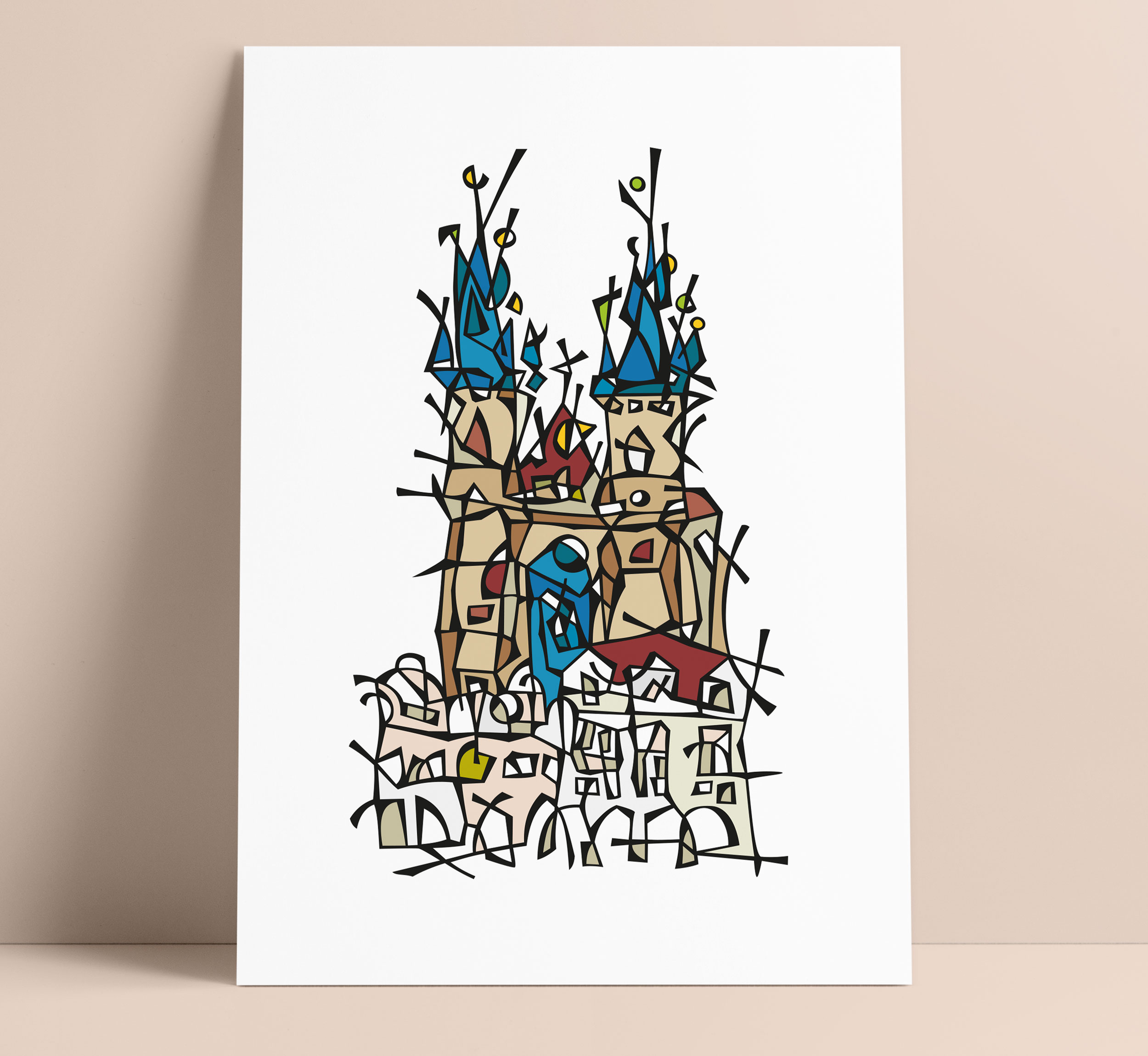 Prague Old Town Square Illustration Art Wall Decoration